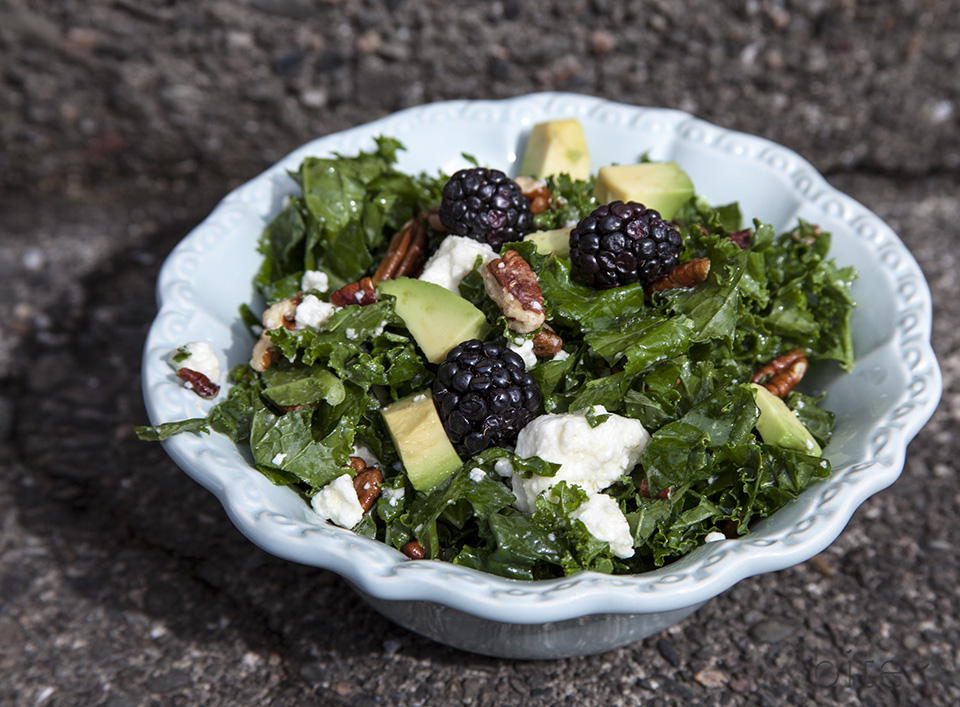 easy kale salad – chewy cheesy fruity nutty yummy