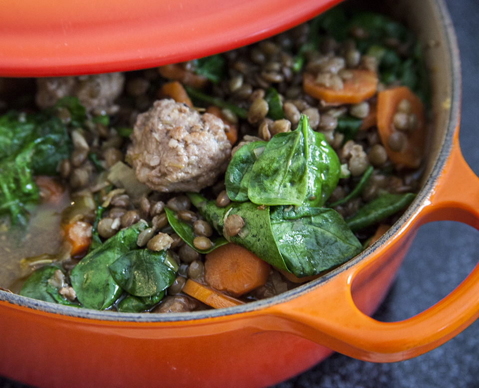 lentil soup with sausage and spinach  – sick of winter