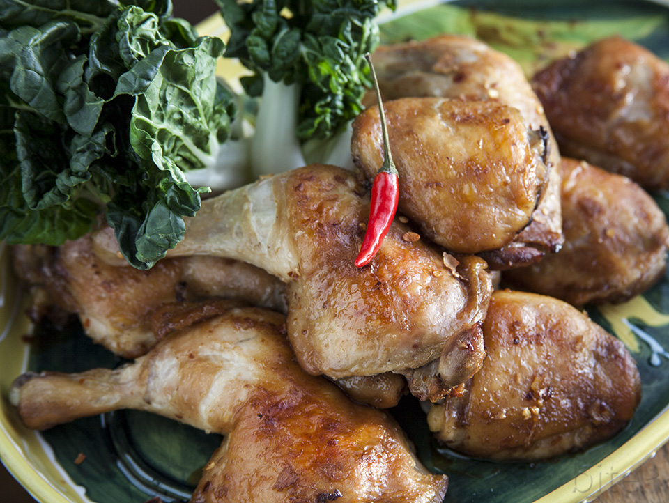 sticky spicy lemon ginger chicken thighs – tastes like it sounds