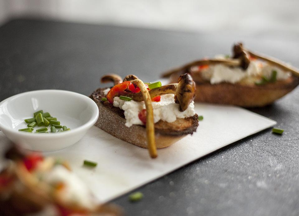 cinnamon cap mushroom, ricotta and chive bruschetta