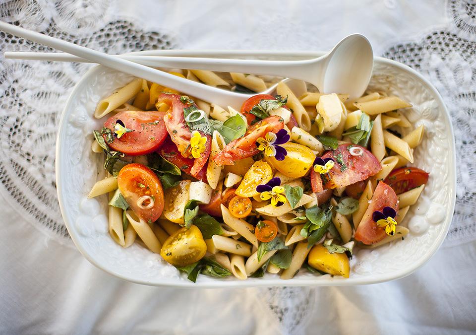 hot caprese pasta salad – a new go-to
