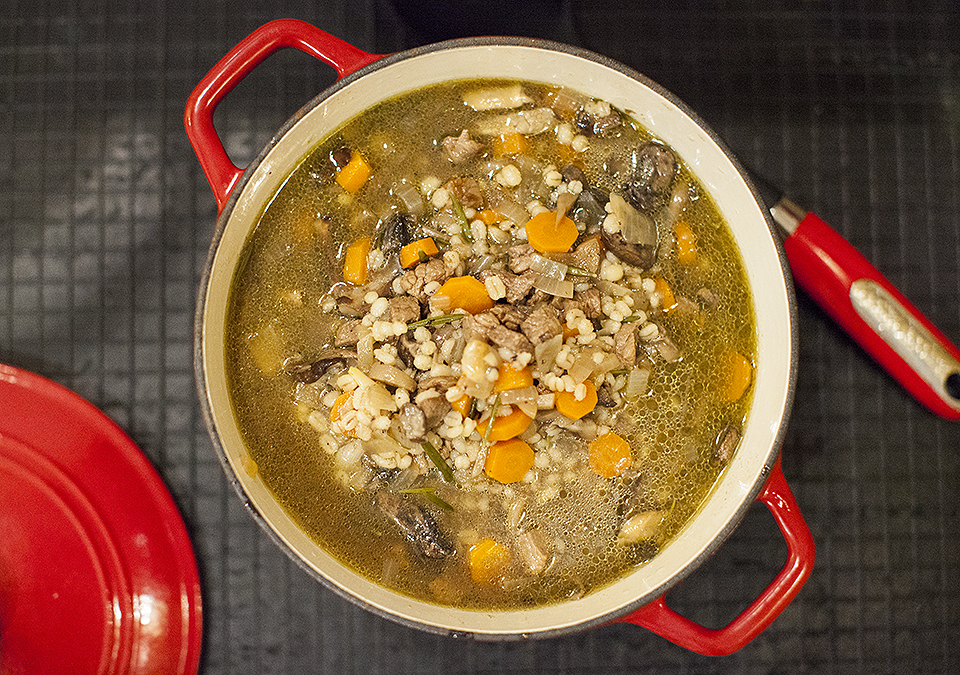 beef wild mushroom and barley soup – you can't rush it