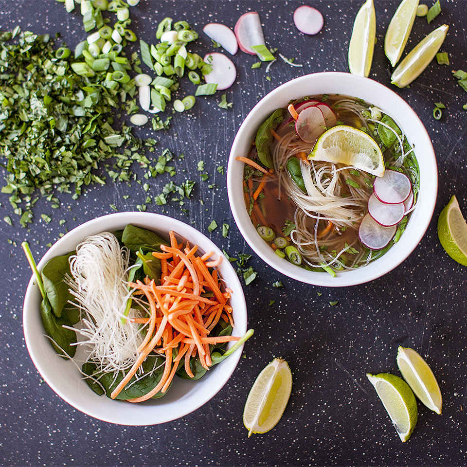 vegetarian pho - Vietnamese noodle soup - bite