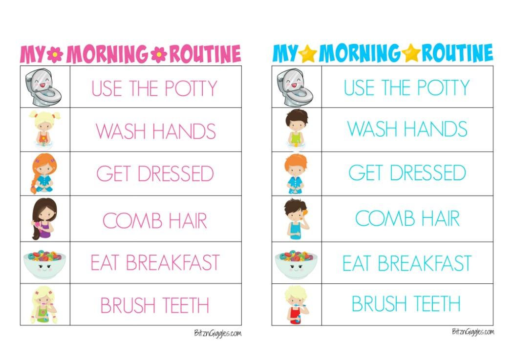 Printable Morning Routine Charts - Bitz  Giggles