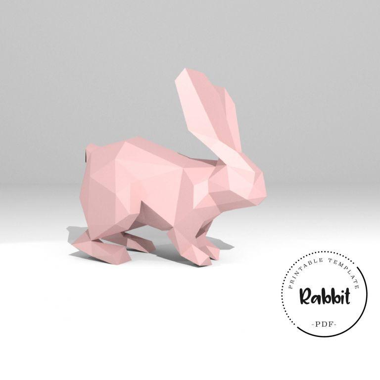 Bunny Papercraft Printable Diy Template Pdf Rabbit Low Poly Paper