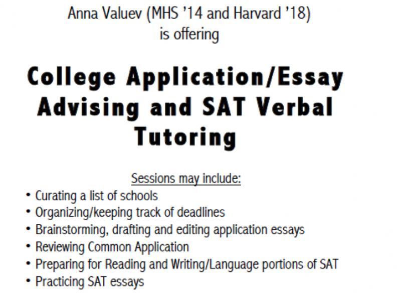 Summer College Application/Essay Advising  SAT English Tutoring