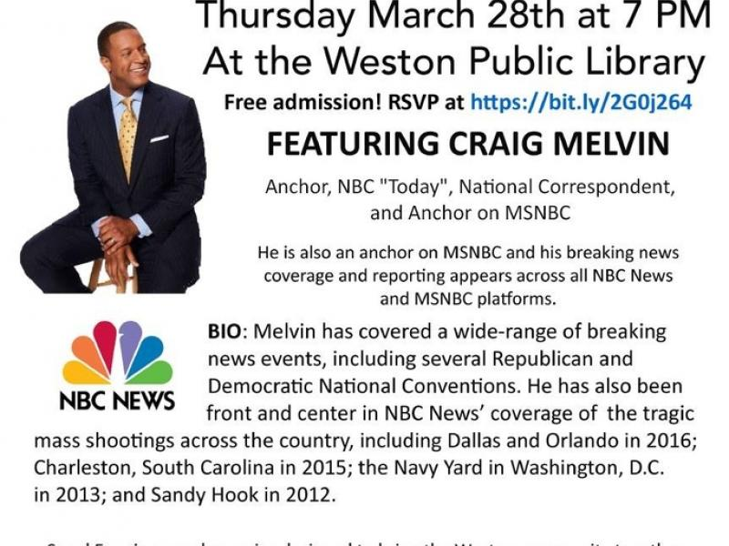 Speakeasy Craig Melvin March 28th At 7pm Weston Ct Patch