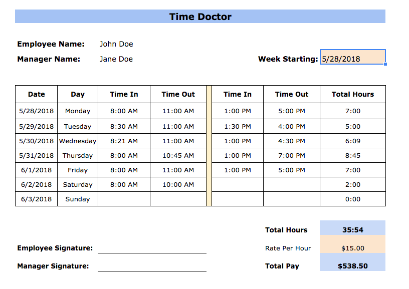 Free Timesheet Templates In Excel Pdf Word Formats