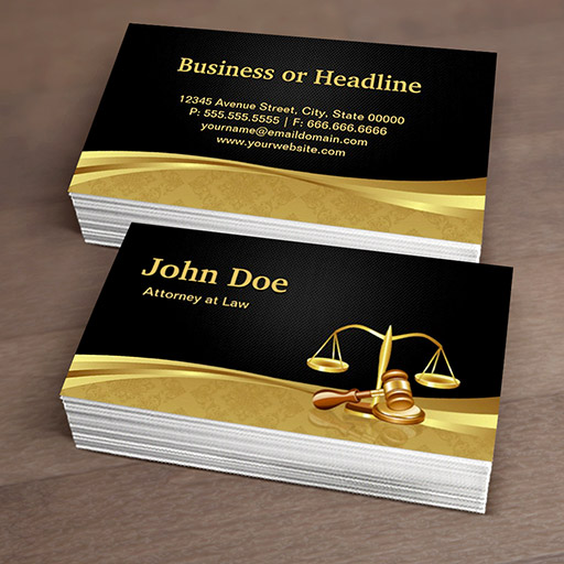 Attorney Lawyer Justice Elegant Black Gold Damask Business Cards