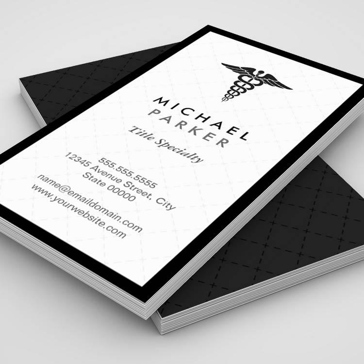 Caduceus Medical Symbol - Retro Black and White Business Cards - medical business card templates