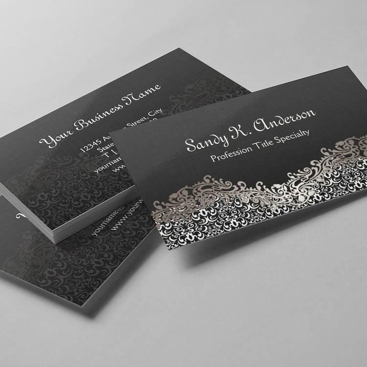 Elegant Floral Silver Damask Lace Business Card Templates