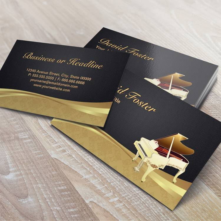 Grand Piano Pianist Elegant Black Gold Damask Business Card Template