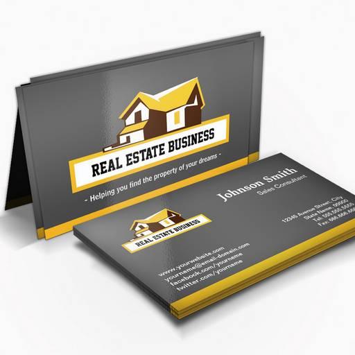 Real Estate Broker Realtor - Modern Stylish Yellow Business Card