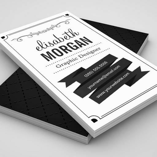 Retro Black and White - Simple Personal Contact Business Card Templates