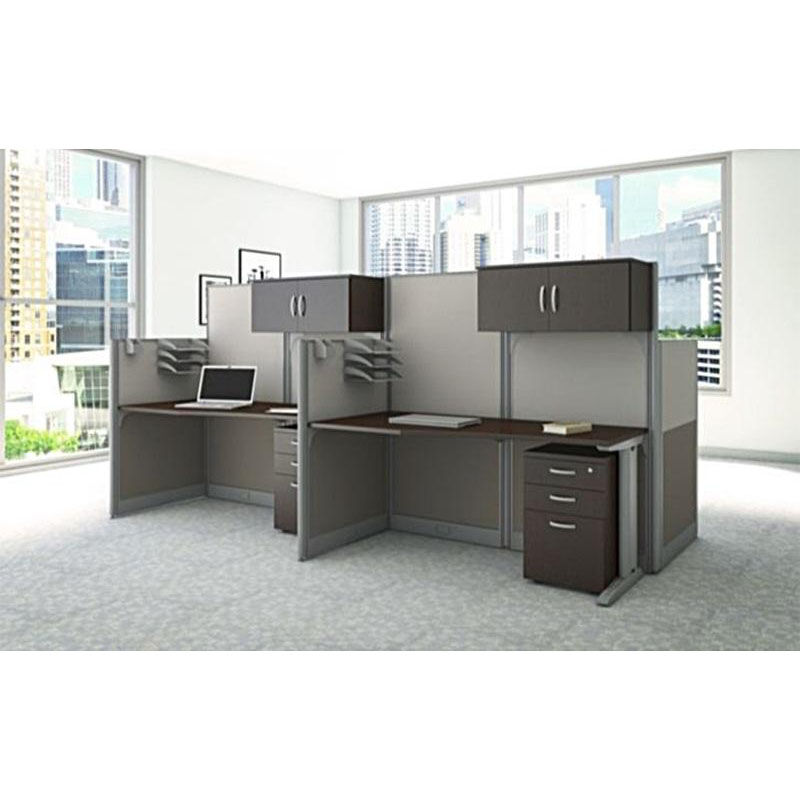 Workstation Furniture Office In An Hour 64 5 W X 32 5 D Straight Desk Workstation With Storage And Accessory Kit Mocha Cherry