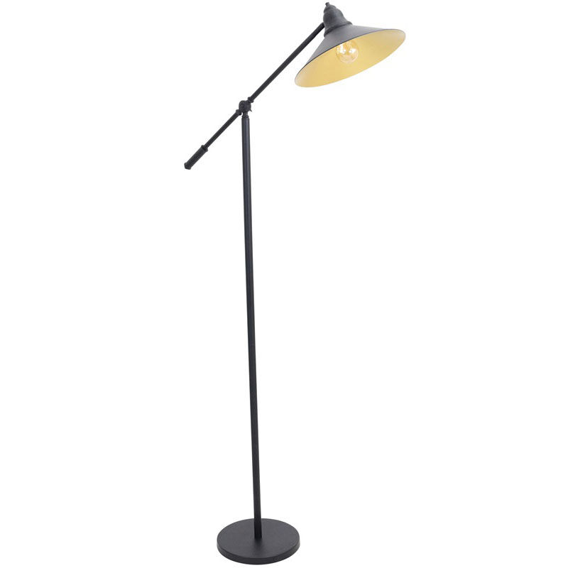 Black Industrial Floor Lamp Paddy Industrial Floor Lamp With Gold Accents Black