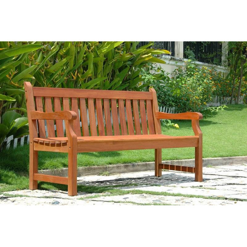 Garden Seats Benches Malibu Outdoor Patio 5 Wood Garden Bench With Arms And Contour Slat Seat
