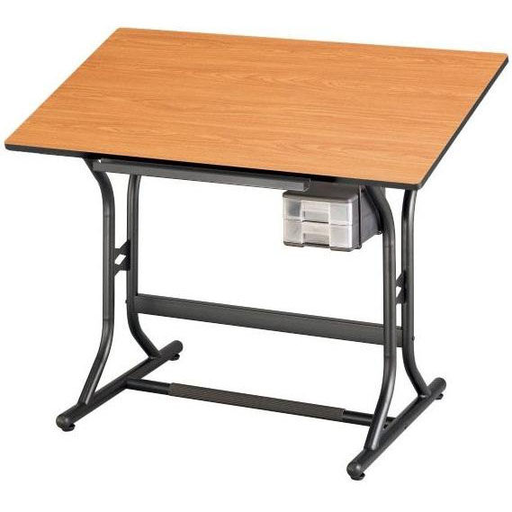 Adjustable Height Drafting Table Height Adjustable Drafting Table With Black Base And Cherry Woodgrain Top 24 W X 40 D