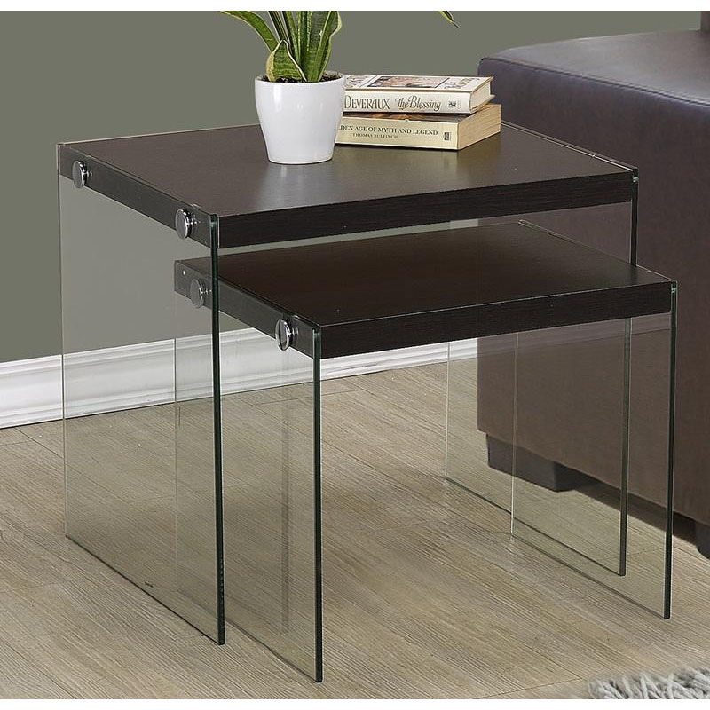 Glass Nesting Tables Modern 2 Piece Nesting Table Set With Tempered Glass Base Cappuccino