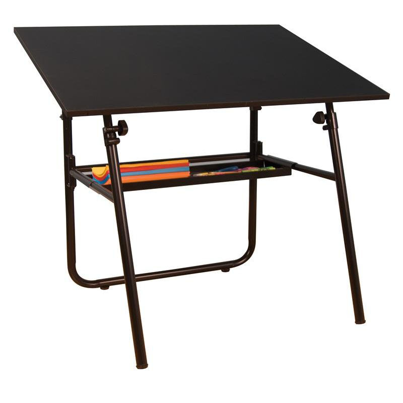 Adjustable Height Drafting Table Ultima Height Adjustable Fold A Way Drafting Table With Removable Storage Tray Black