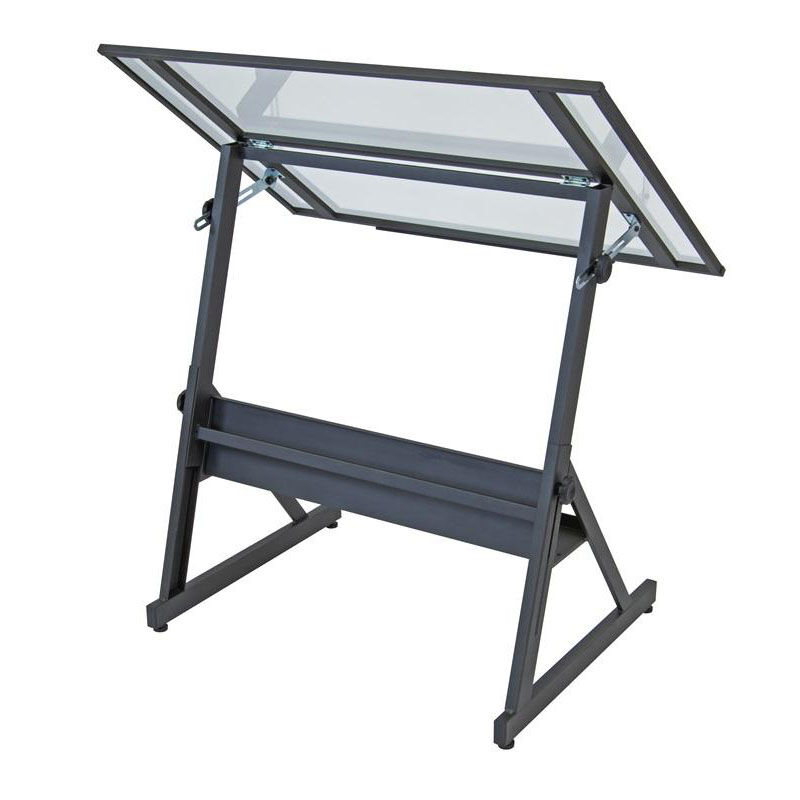 Adjustable Height Drafting Table Solano 42 W X 29 5 D Adjustable Height Drafting Table With Clear Glass Tilt Work Top Charcoal