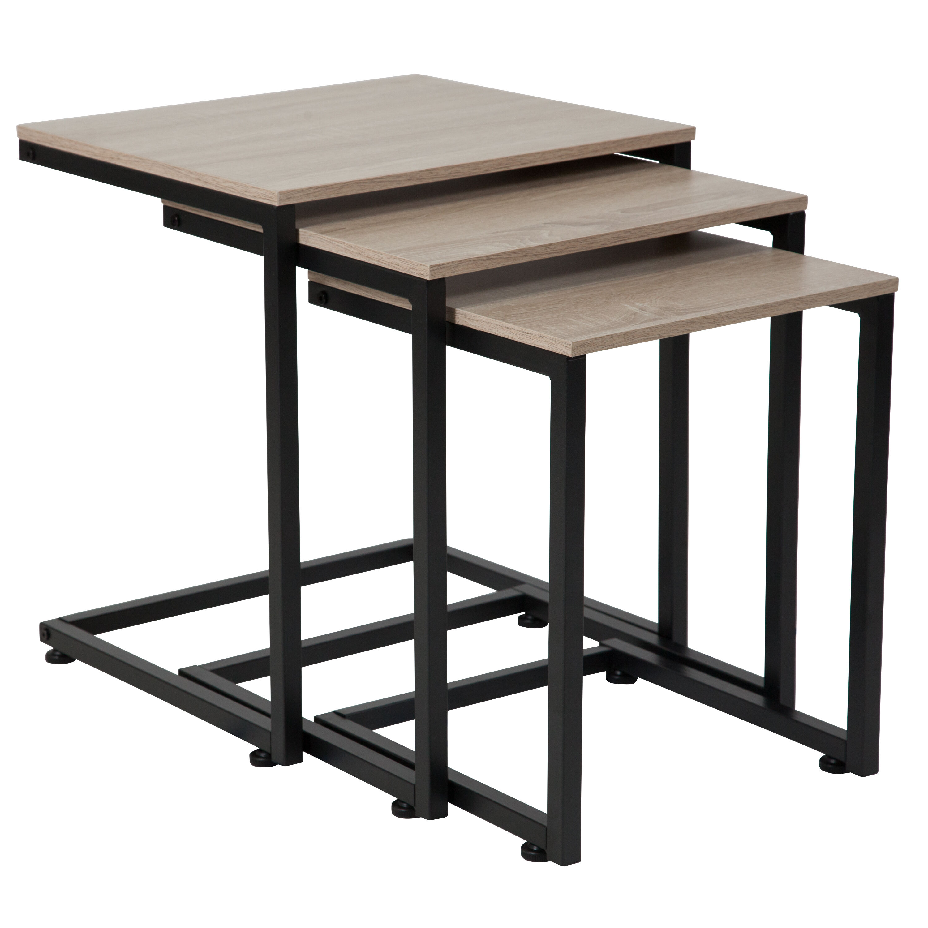 Black Metal Nesting Tables Flash Furniture Midtown Collection Sonoma Oak Wood Grain