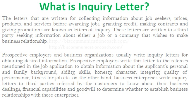 What is Inquiry Letter in Business Communication? - Business - Format Of Letter Of Enquiry