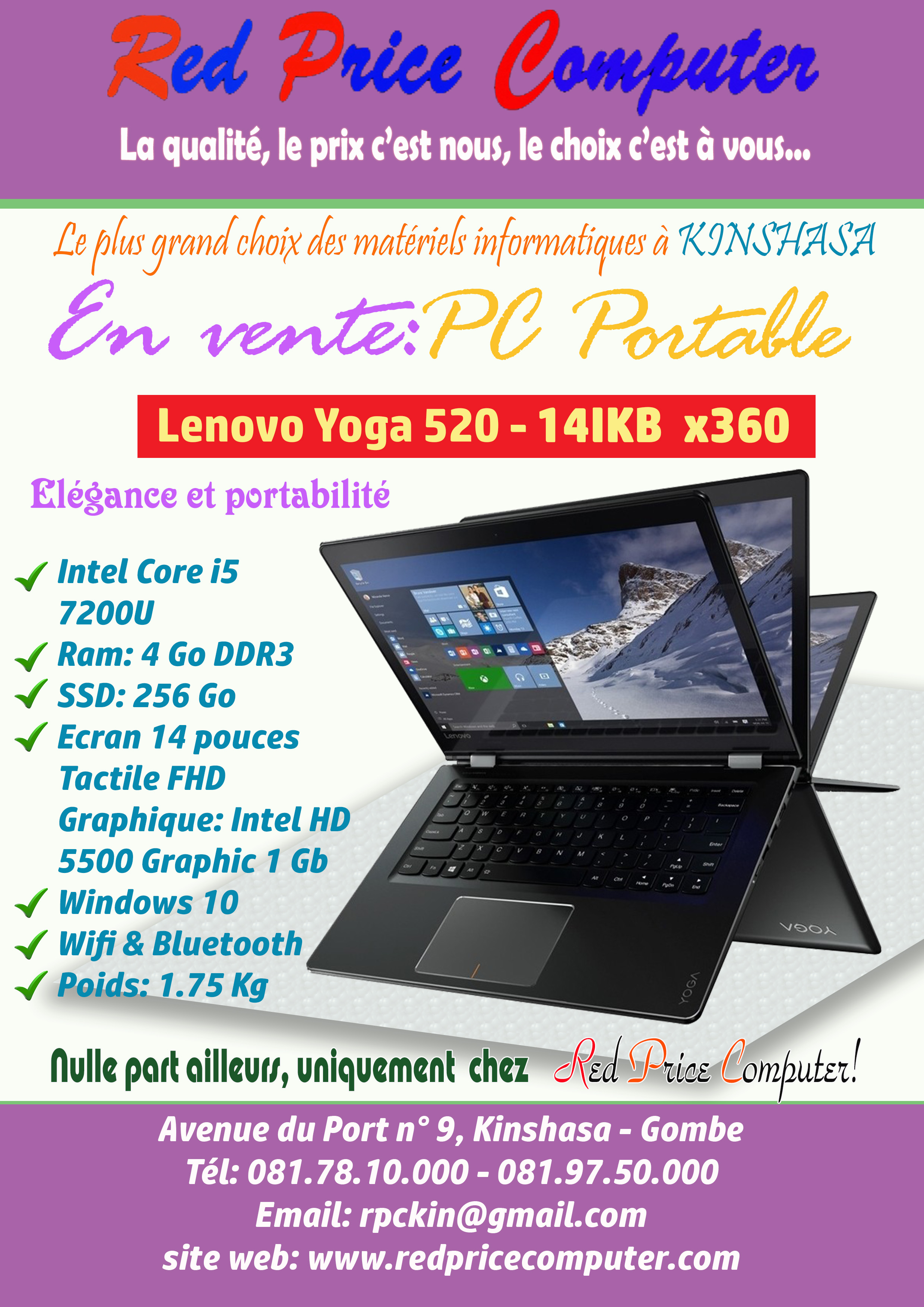 Vente Pc Portable Red Price Computer En Vente Ordinateur Portable Lenovo Yoga 520