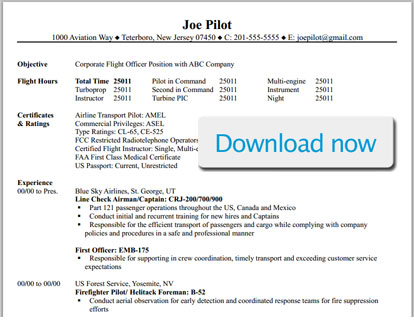 Professional Pilot Resume Template - BizJetJobs - corporate resume template