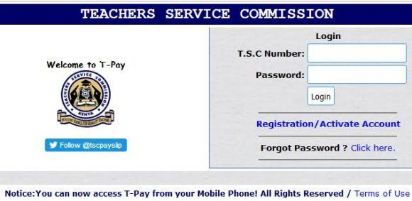 TSC Payslip Online Registration and Download (Updated 2019)