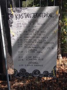 Programmet for Kastanjekatedralen - nogen havde glemt et k i mit navn, men ellers var alt godt ...