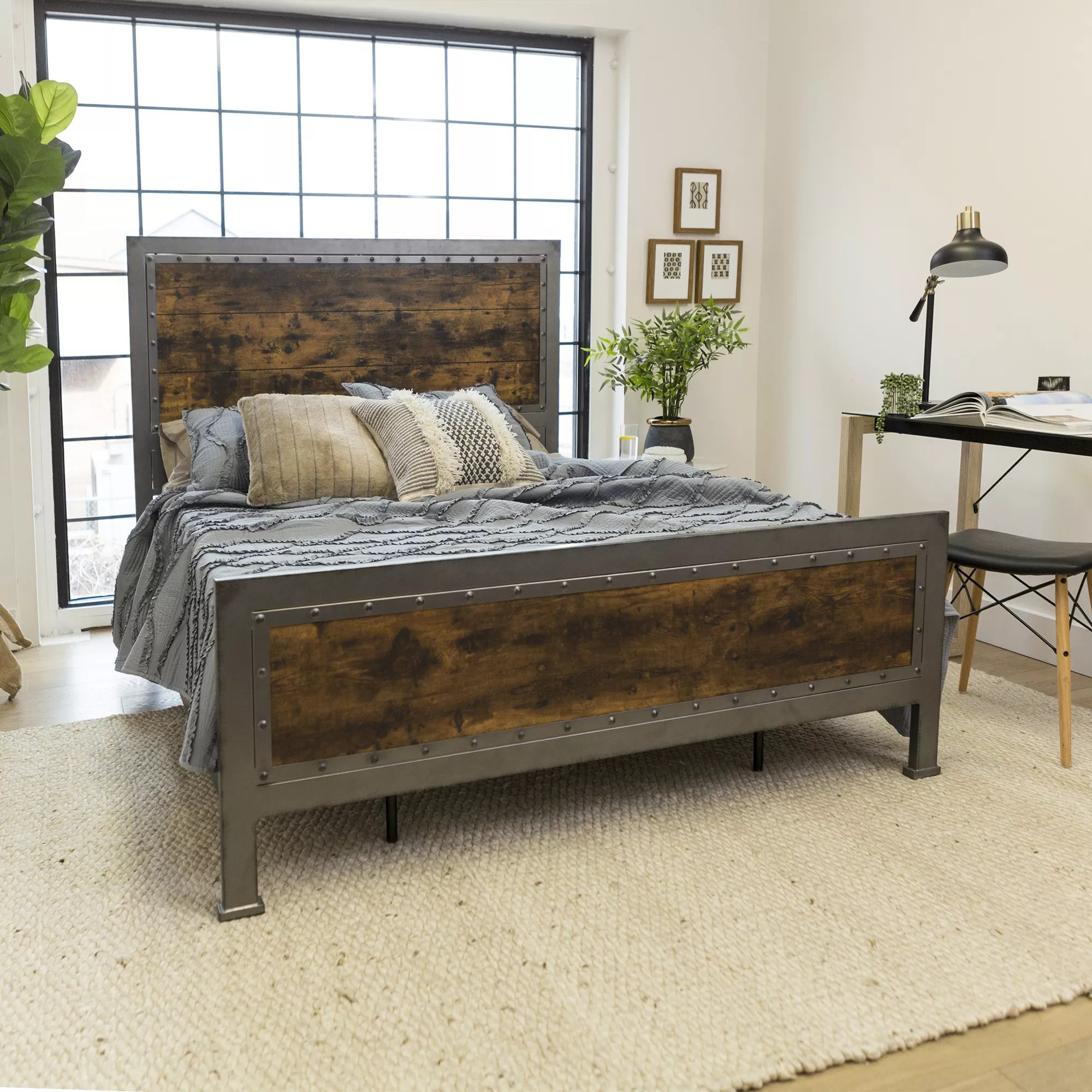 Industrial Queen Size Bed Frame Brown Bjs Wholesale Club
