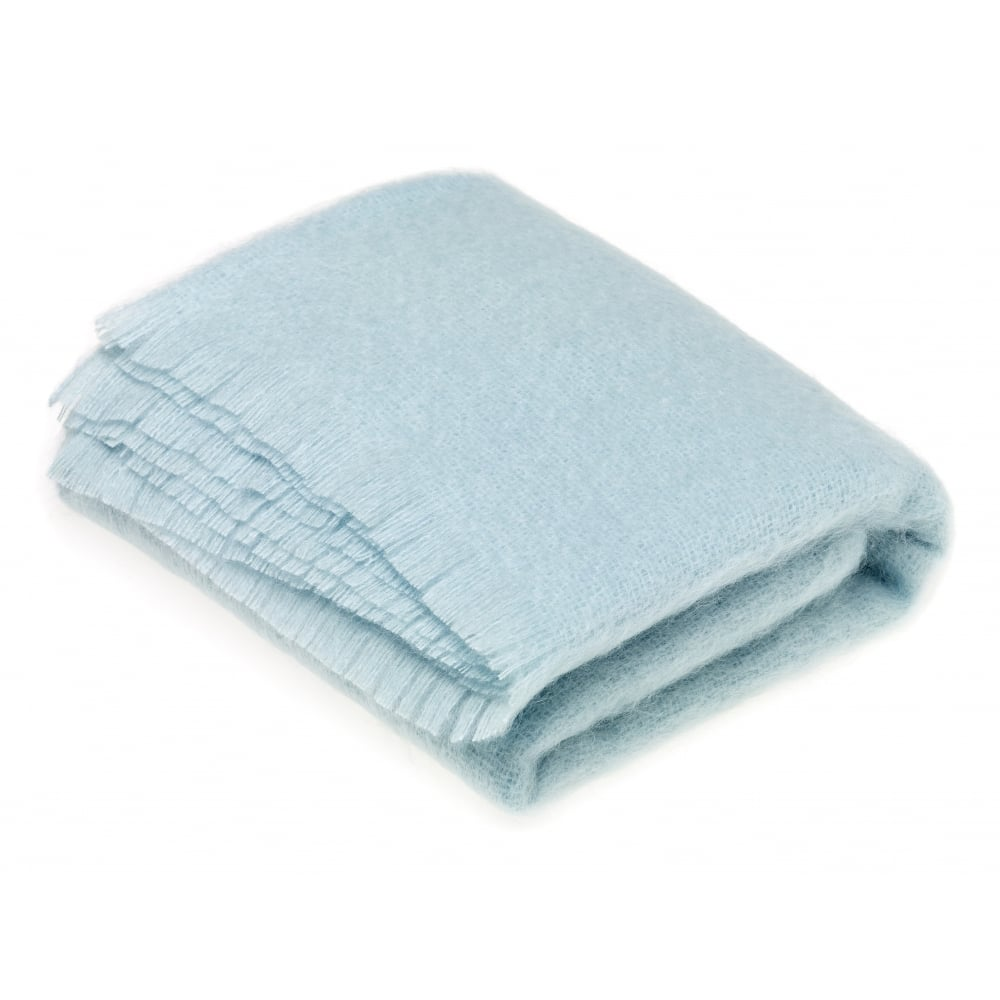 Bronte By Moon Luxury Mohair Throw In Duck Egg Blue