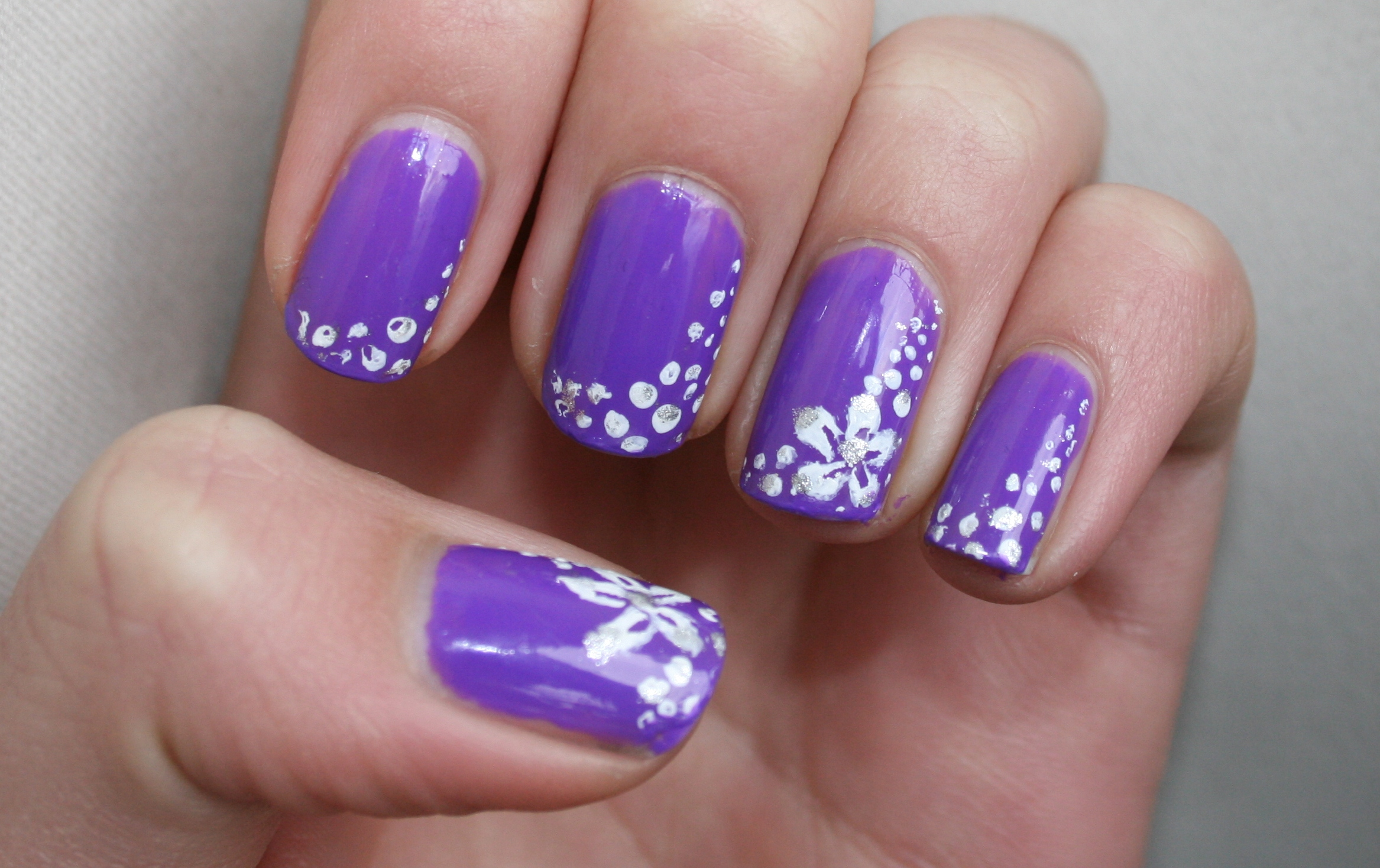 Purple Flower Nail Art Blackbirdnails