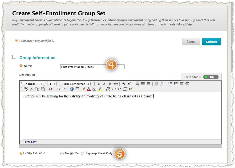 Creating Self-Enroll Groups · Blackboard Help for Faculty - how to create a signup sheet