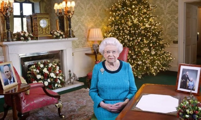 The Queen in the Regency Room at Buckingham Palace after recording her Christmas Day broadcast to the Commonwealth last year. (Photograph: WPA Pool/Getty Images)