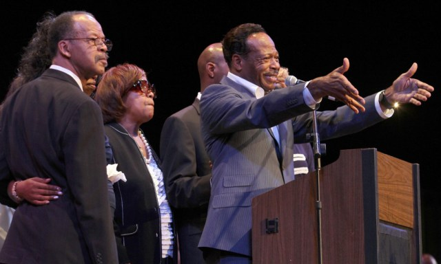 Edwin Hawkins, right, speaks during a memorial for his brother Bishop Walter Lee Hawkins at the Paramount Theatre on Wednesday, July 21, 2010 in Oakland, Calif. To the left is Hawkins' brother Daniel and sister Carol. Hawkins was the pastor and founder of Love Center Ministries, Inc. in Oakland and a grammy award-winning gospel singer. He died of cancer on July 11. (Jane Tyska/Staff)