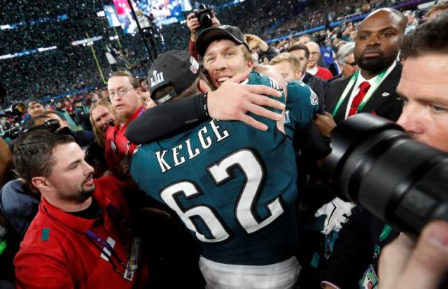 Philadelphia Eagles Nick Foles celebrates with Jason Kelce after winning Super Bowl LII REUTERS/Kevin Lamarque