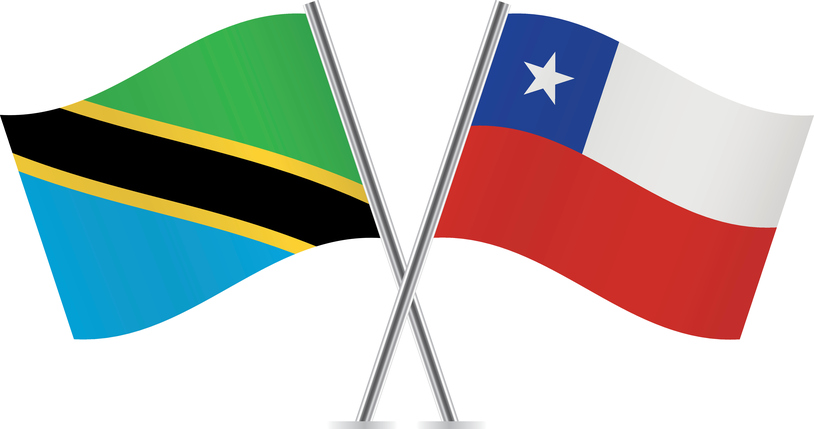 Tanzania and Chile flags. Vector illustration.