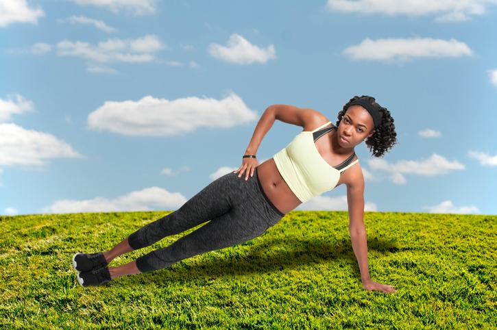 Beautiful woman doing a set of Yoga exercises