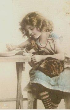 彩色写真 少女 猫