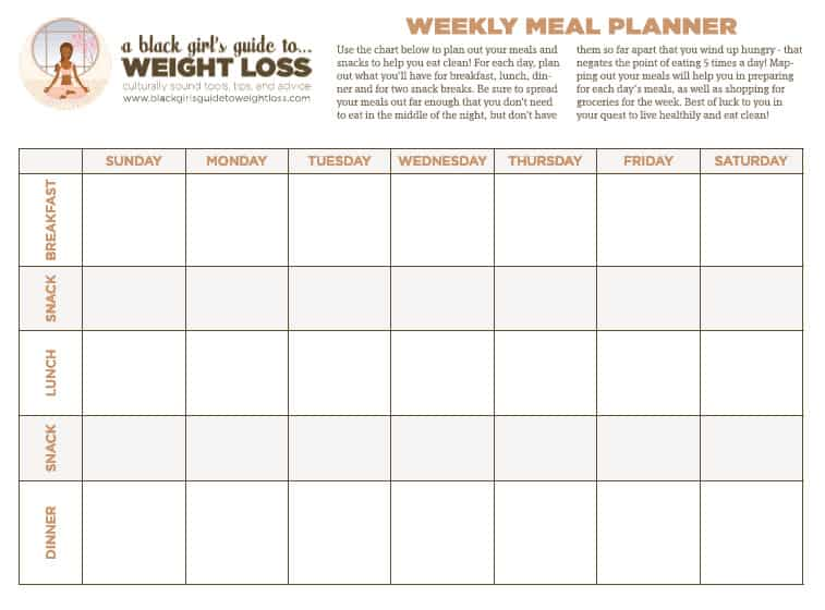 Introducing The Clean Eating Chart A Black Girl\u0027s Guide To Weight - weekly food chart template