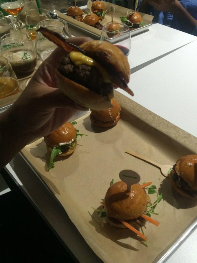 Close up of my fav, the bacon cheeseburger