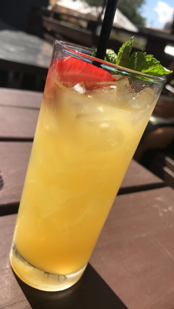 Chopped and Screwed! Deep Eddy peach vodka, pineapple juice, fresh lime and tiki bitters!