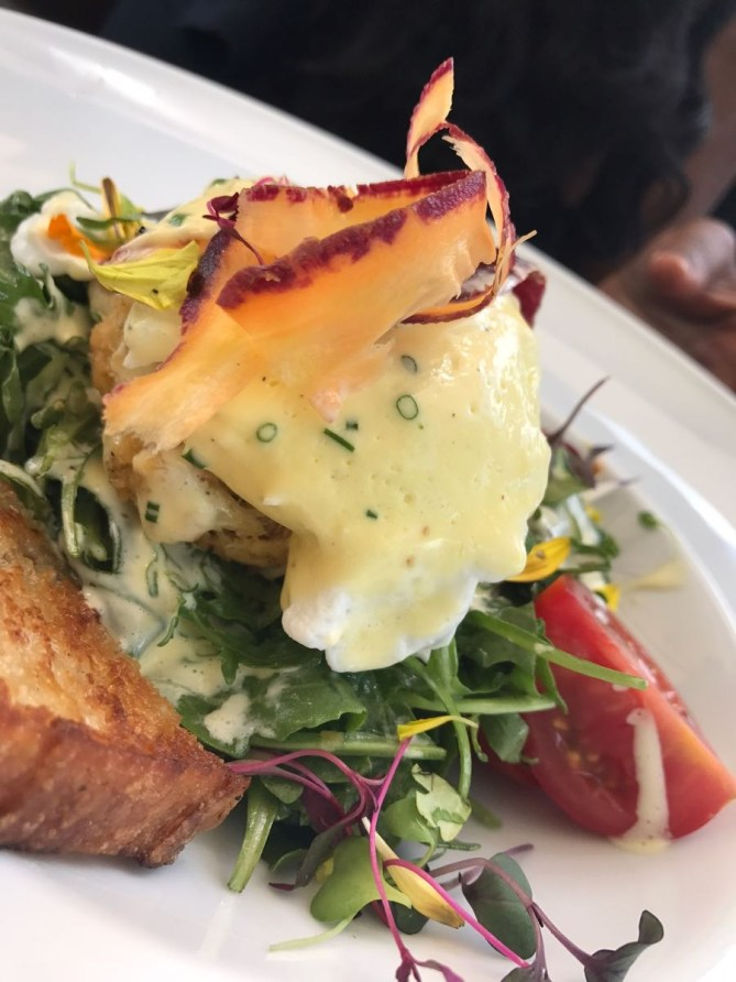 Crab Cake Bowl! Lump crab cake, poached egg, citrus hollandaise, market-salad and toasted sourdough.