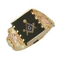 10K Black Hills Gold Masonic Ring for Men's ...