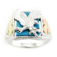 Mens Black Hills Gold Sterling Silver Eagle Ring with ...