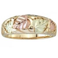Tri-Color 10K Black Hills Gold Men's Wedding Ring with 12K ...