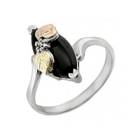 Black Hills Gold Sterling Silver Onyx Ladies Ring ...