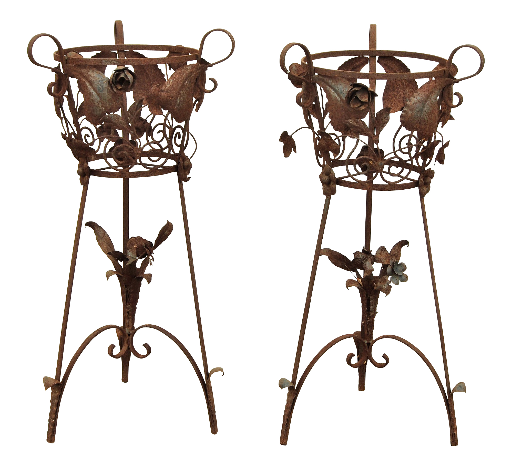 Tall Wrought Iron Plant Stands Pair Vintage Elaborate Iron Plant Stands Black Rock